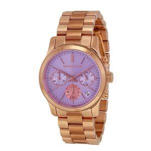 Michael Kors Rose Gold Runway Watch Lavender Dial